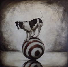 Dog on a Ball #38 <br> 36h x 36w in