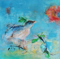 Bird and Flower <br> 16h x 16w in