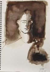 Sketch Book IV #19 Modern Muse <br> 12h x 8w in