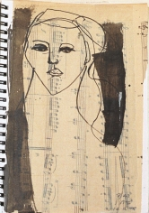 Modern Muse, Sketch Book V #41 <br> 8h x 6w in