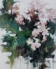 Peonies Along the Garden Wall <br> 55h x 45w in