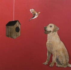 Bird-Dog with Birdhouse <br> 40h x 40w in