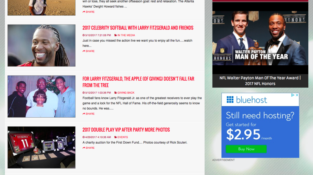 NFL wide receiver Larry Fitzgerald uses an advertising network on his website (bottom right).
