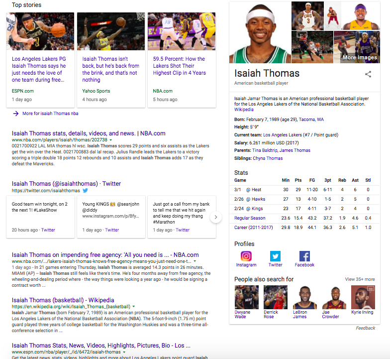 """When you search for """"Isaiah Thomas NBA"""" on Google, his website doesn't appear on the first page."""
