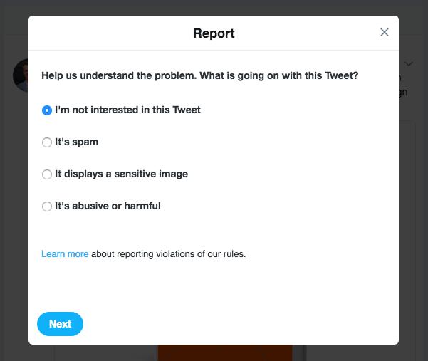 "The ""Report Tweet"" function on Twitter"