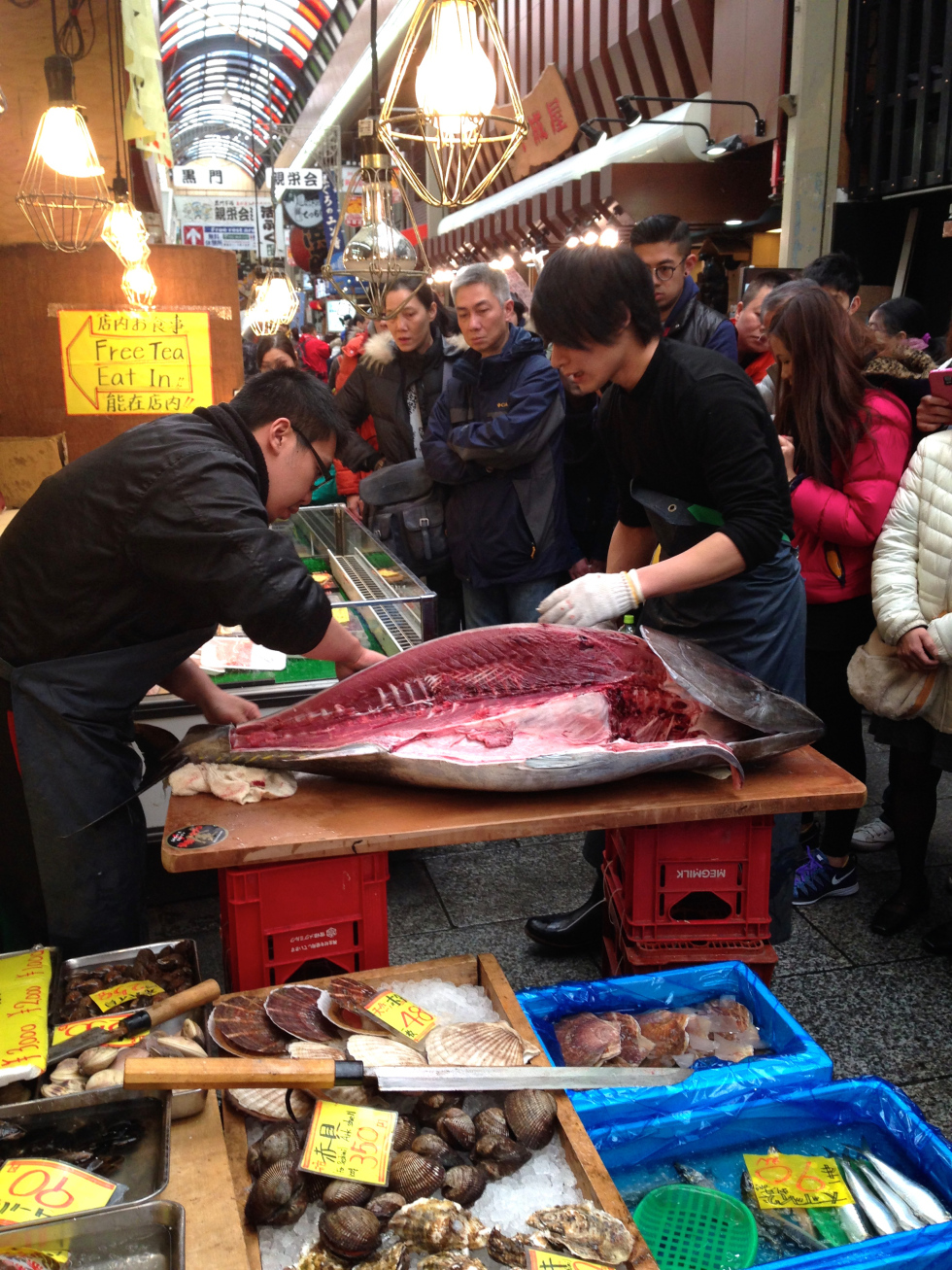 """The crowd cheered and I joined in but was abruptly halted in my applause when the fish monger turned to me and beckoned me forth. Confused and shy, I shuffled forward and mumbled my apologies- """"sumimasen""""- for the language barrier. To this I was simply handed a spoon. The man pointed to the belly of the tuna and then emulated eating motions. I will never forget the day that I got to stand surrounded by kind smiling strangers in a foreign country, and personally scrape out the toro to eat raw on the spot from a freshly killed and butchered Tuna fish. The toro, or fattiest and very expensive area of the tuna, immediately melted in my mouth. There was no need for lemon or soy sauce to balance the flavor. It was perfection."""