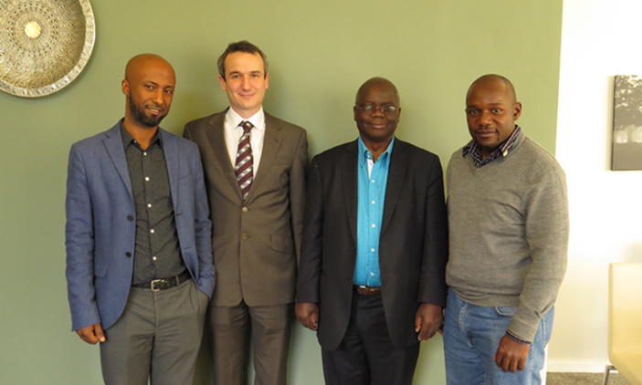 From left to right, Dr Bikila Wodajo, Dr Francis Pope – University of Birmingham, Professor Michael Gatari and Dr Mark Henry Rubarenzya.