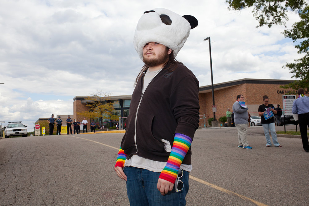 Josh protesting the Westboro Baptist Church protesters outside Oak Hills High school near Cincinnati.