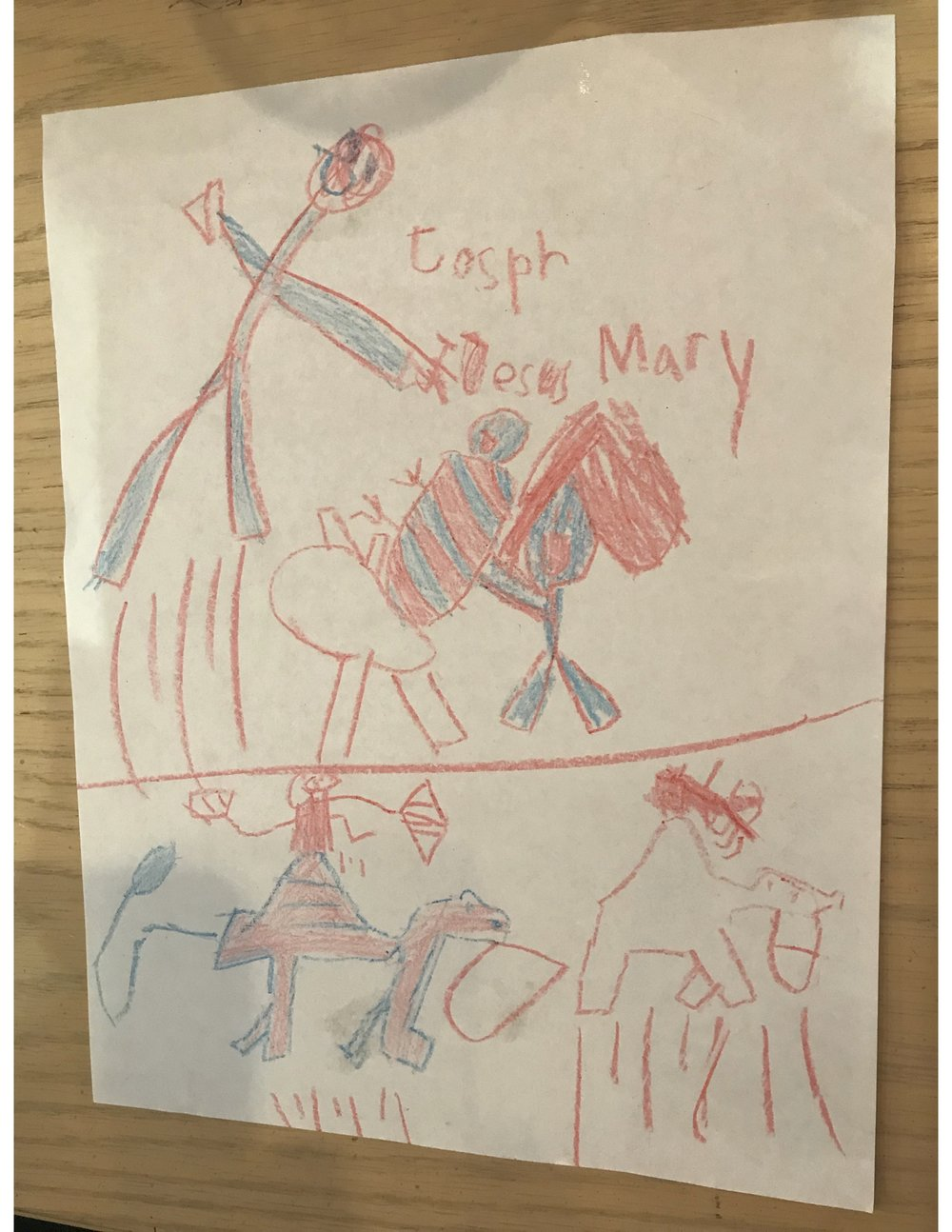 Lucy's drawing of the nativity scene. I'm not sure what the lines are under the characters, but I think it might be grass, or maybe footprints? I love it! Thank you Lucy for sharing this with us.