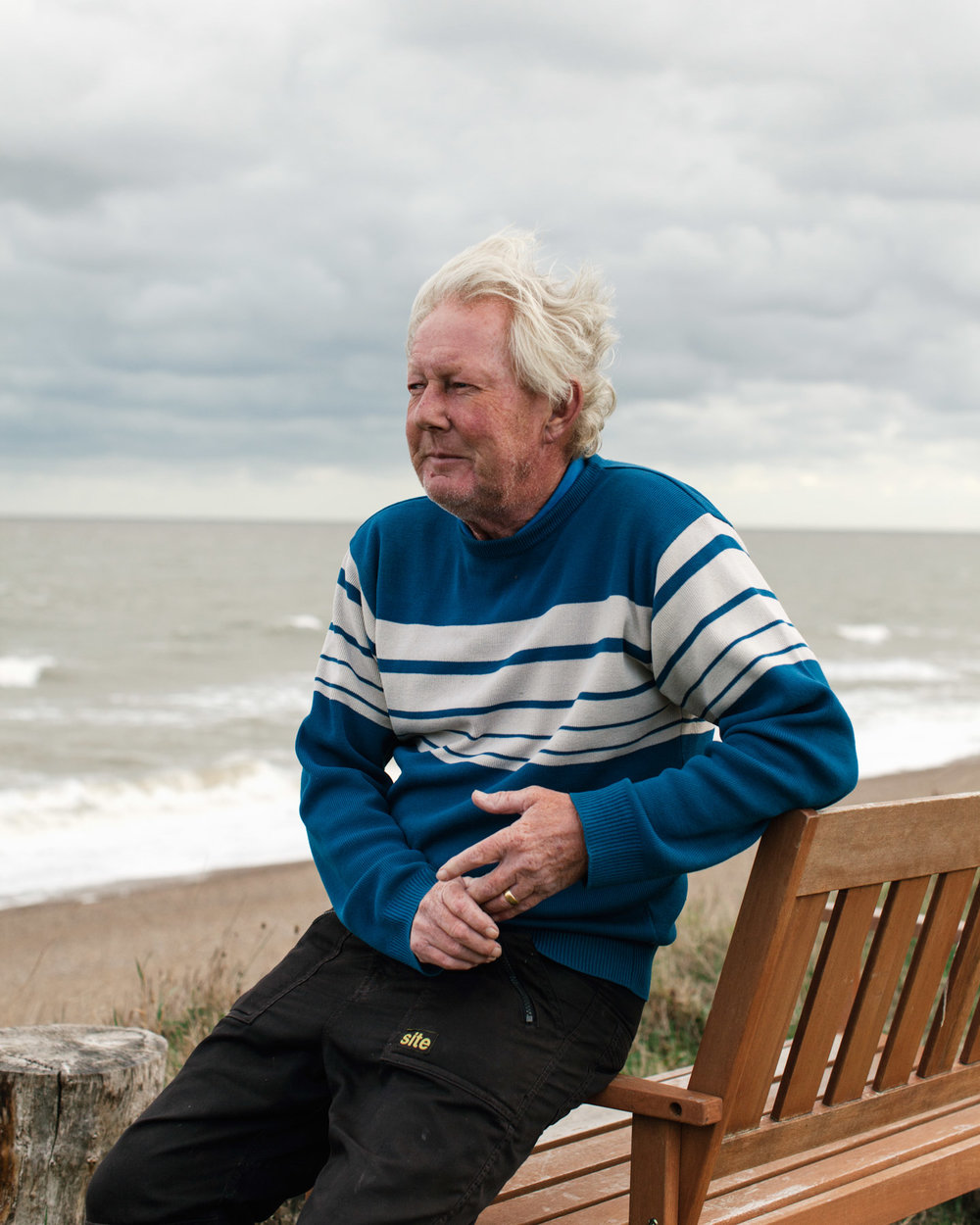 "Steve Aldous has lived in Dunwich all his life (on and off). ""Since the tidal serge in 2007, we haven't seen too much damage. They've put in some temporary protection and so far it seems to be working."""