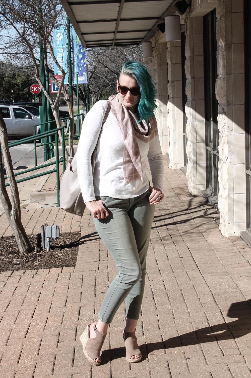olive green denim pants taupe suede wedges espadrilles