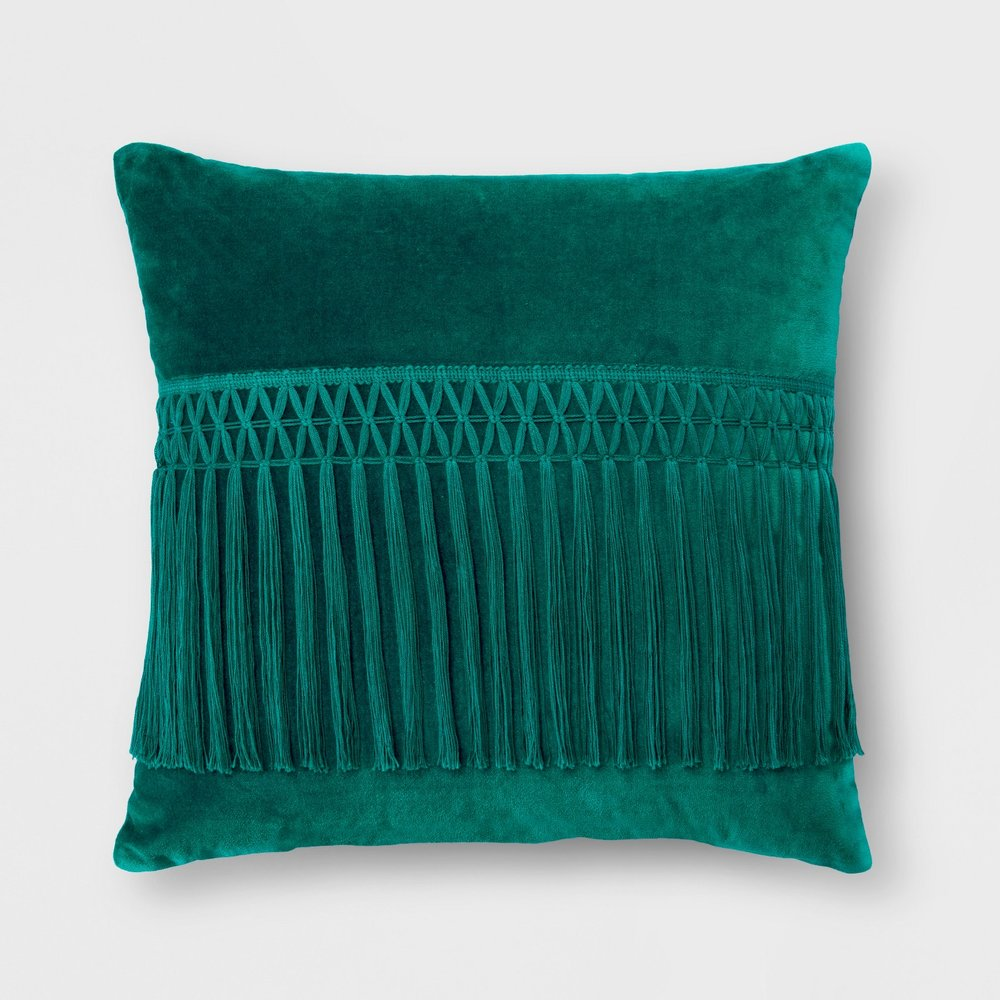 Opalhouse Velvet Fringe Square Throw Pillow