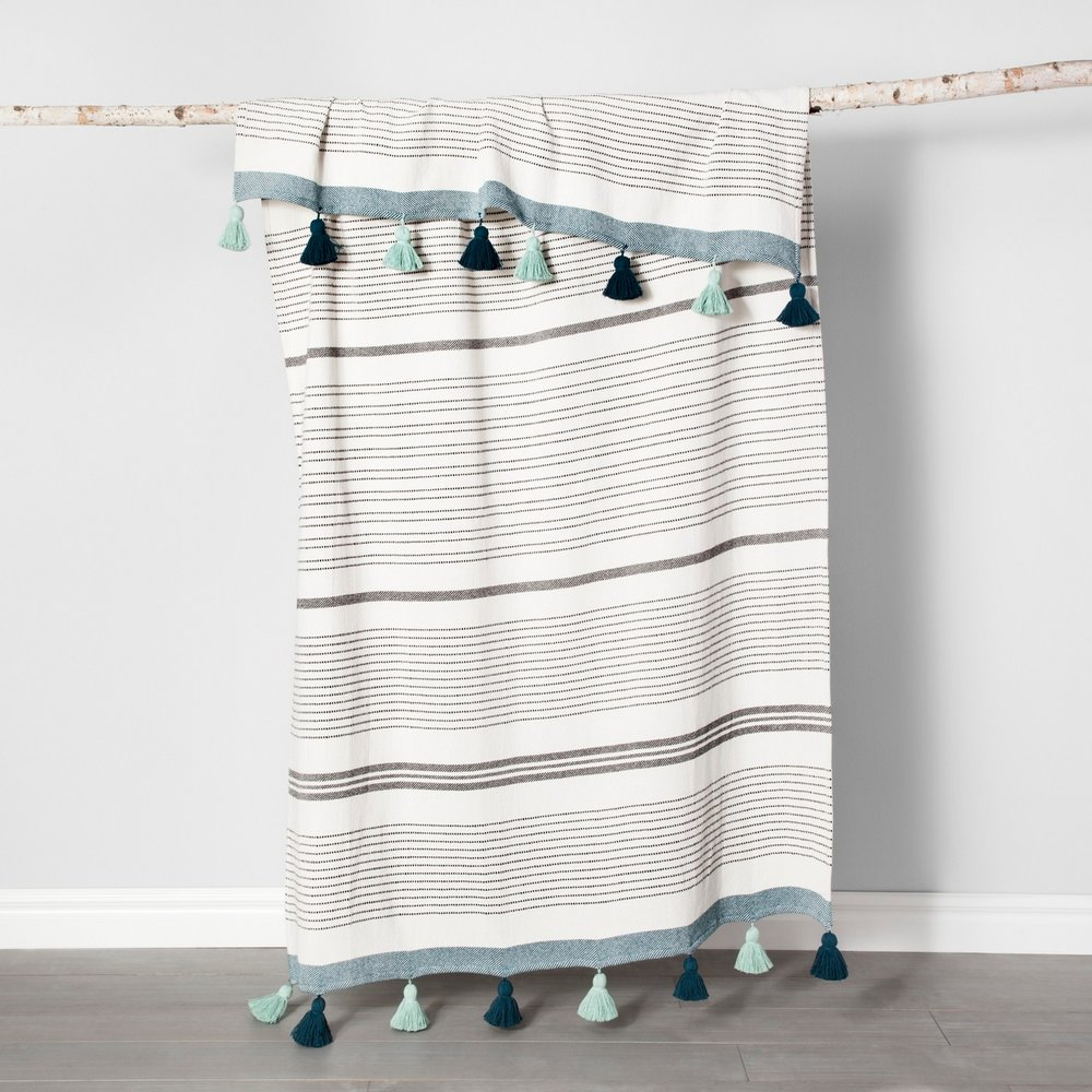 Opalhouse Teal Pom Pom Oversized Throw Blanket