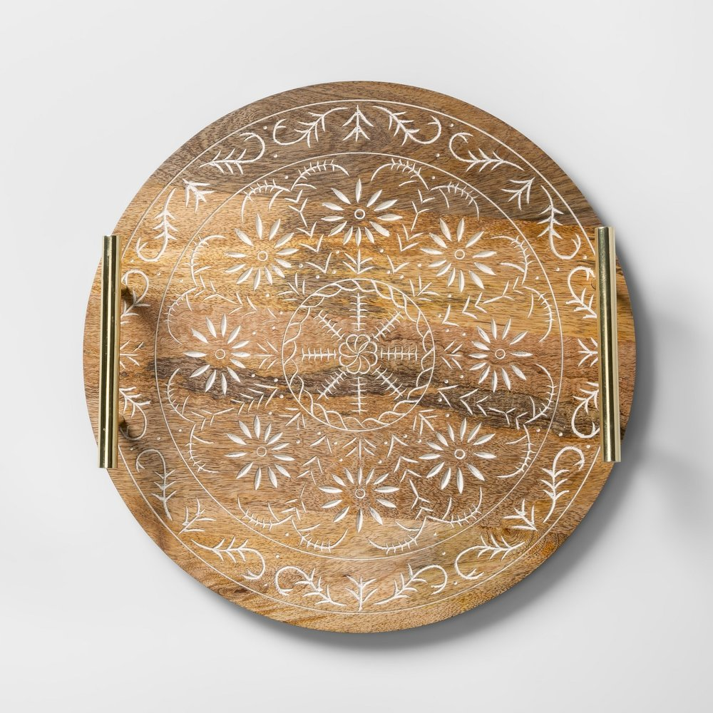 Opalhouse Round Mango Wood Embellished Serving Tray with Handles