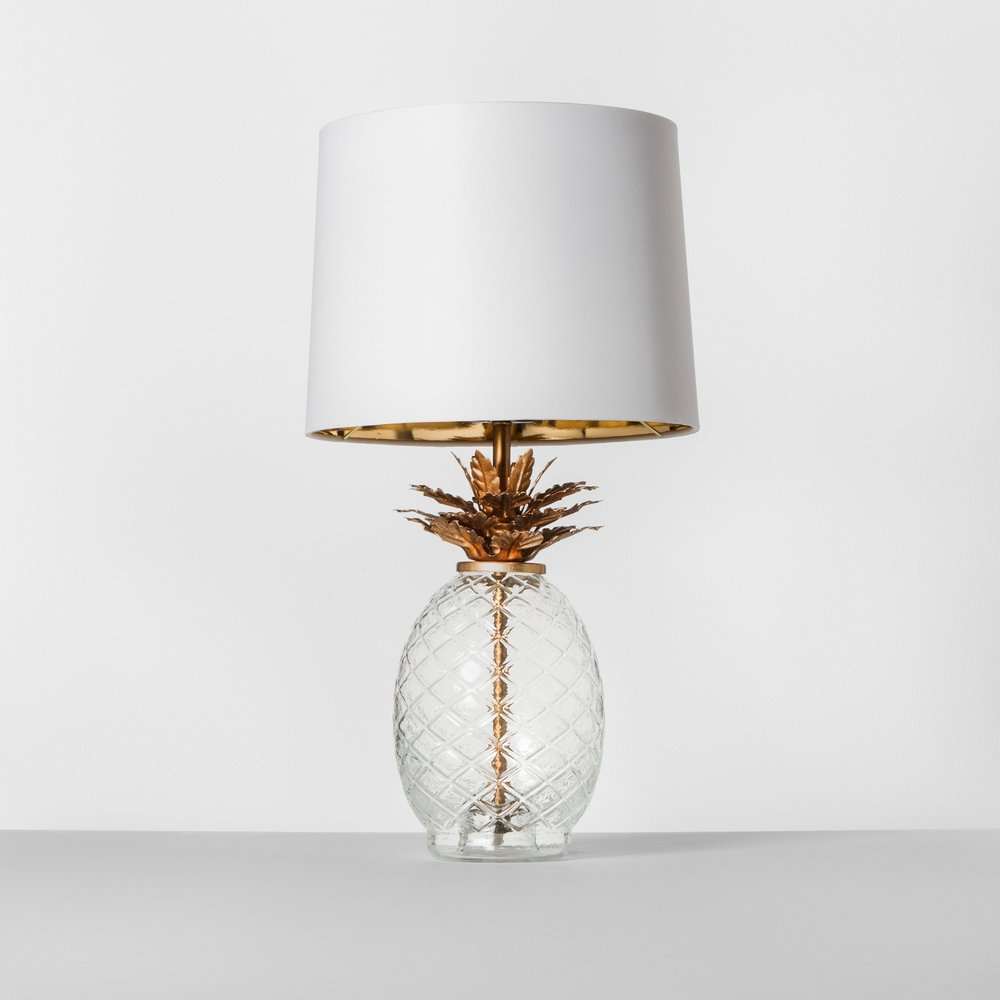 Opalhouse Glass Pineapple Table Lamp Brass