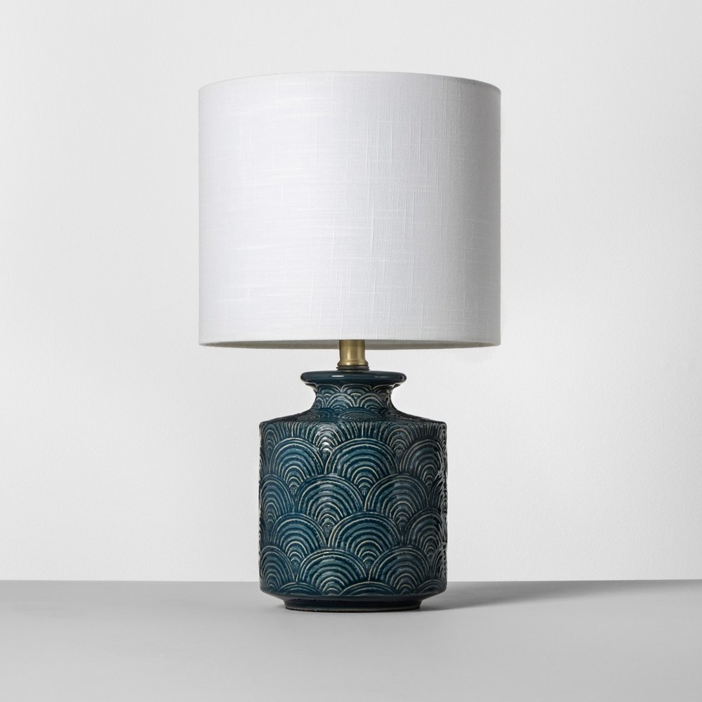 Opalhouse Ceramic Scallop Print Teal Table Lamp