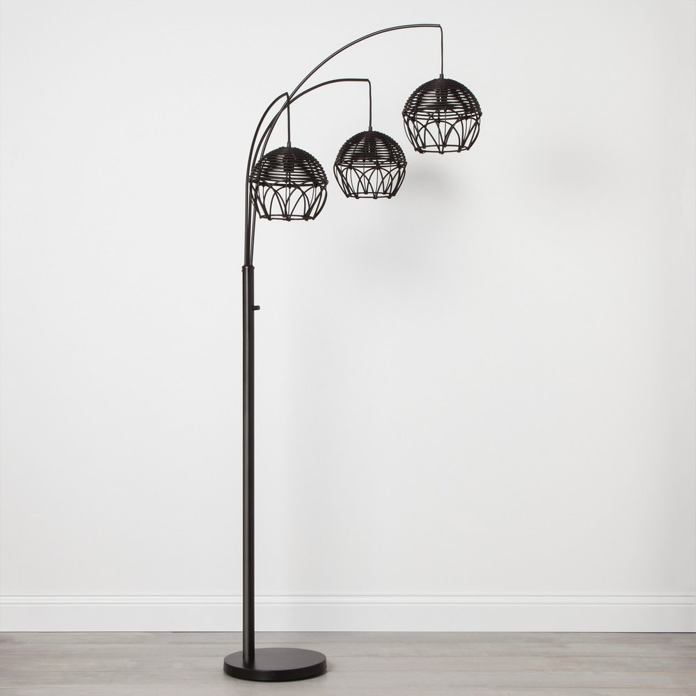 Opalhouse Rattan 3 Head Arc Floor Lamp Black
