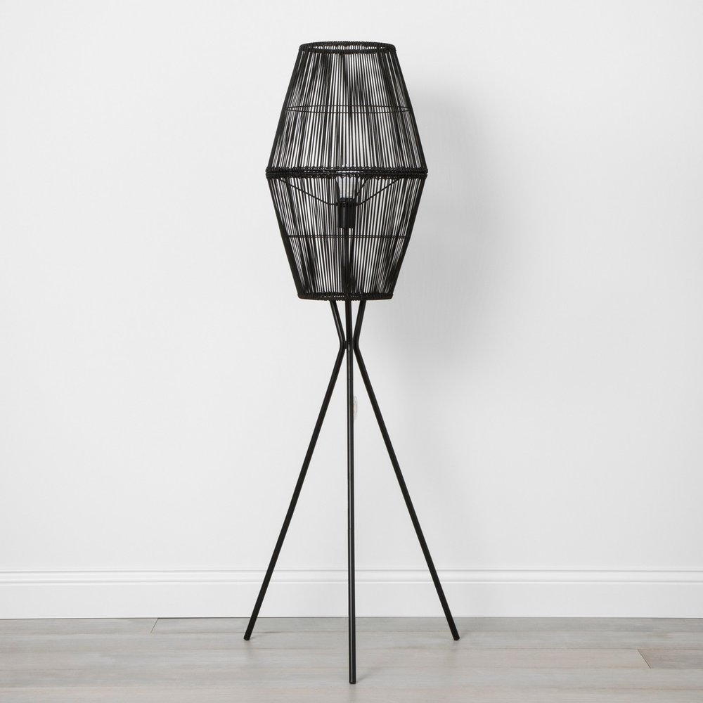 Opalhouse Rattan Diamond Tripod Floor Lamp Black