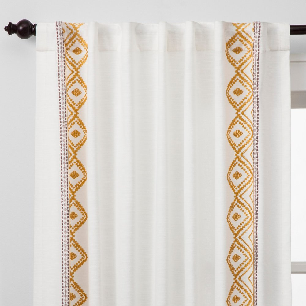 Opalhouse Global Border Curtain Panel White Yellow