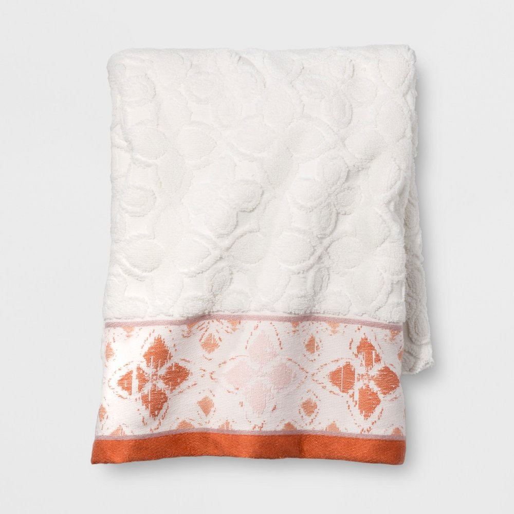 Opalhouse Diamond Border Towel White Orange