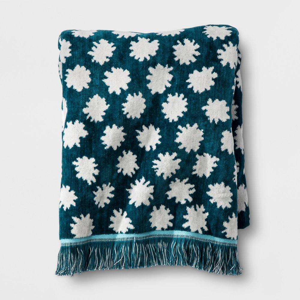 Opalhouse Sheered Floral Fringe Towel Teal
