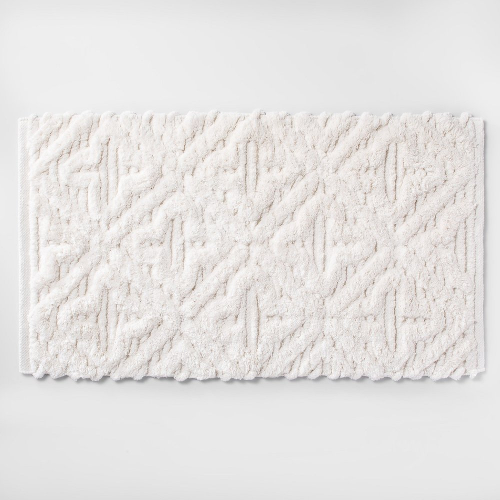 Opalhouse Textured Diamond Shag Bath Rug White
