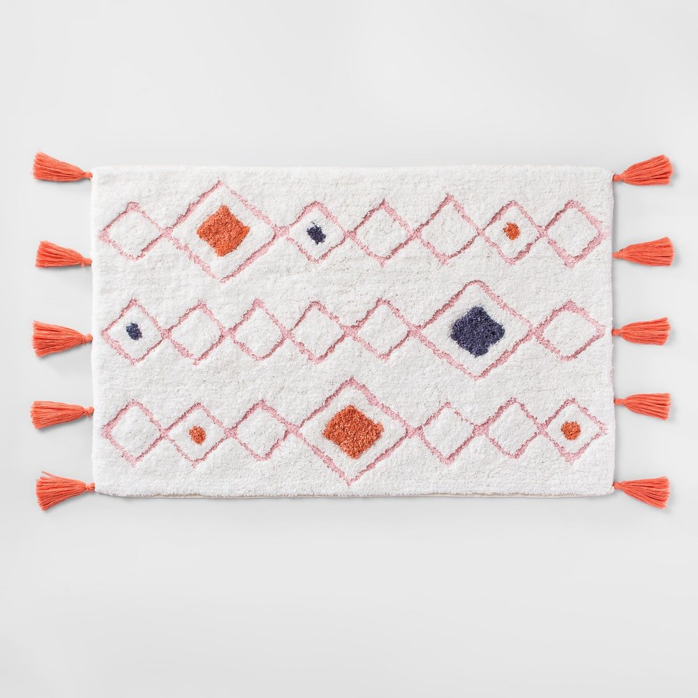 Opalhouse Tasseled Diamond Bath Rug White