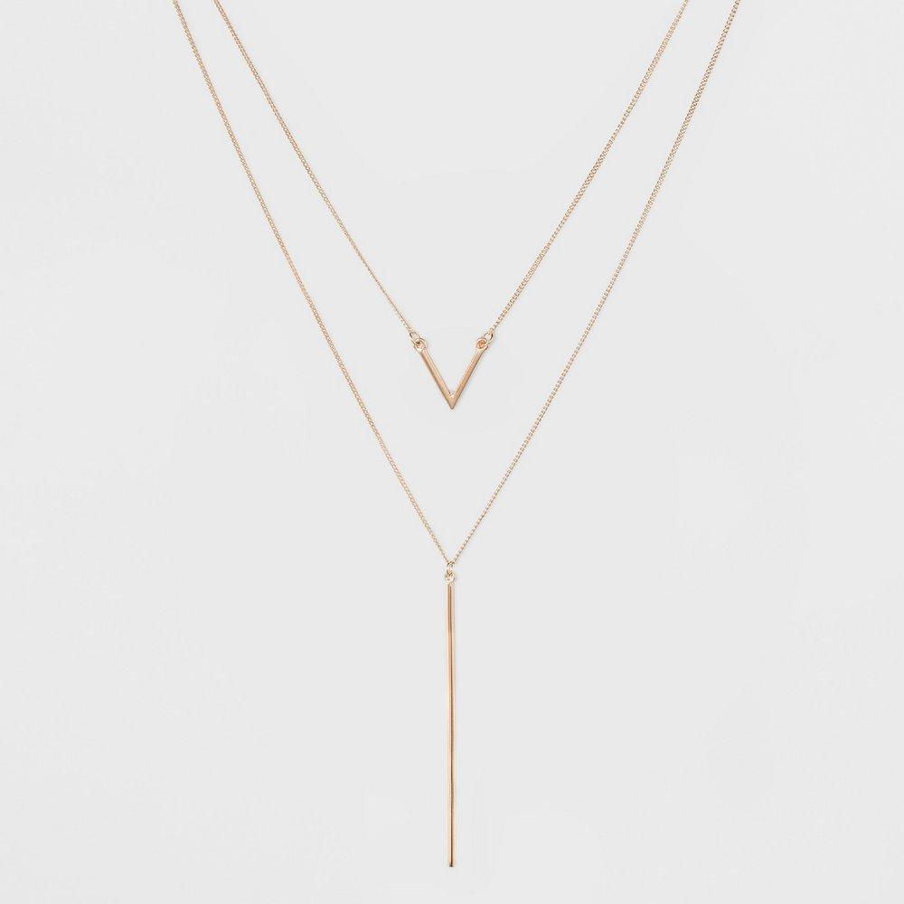 Multi-Strand Long Geometric Necklace