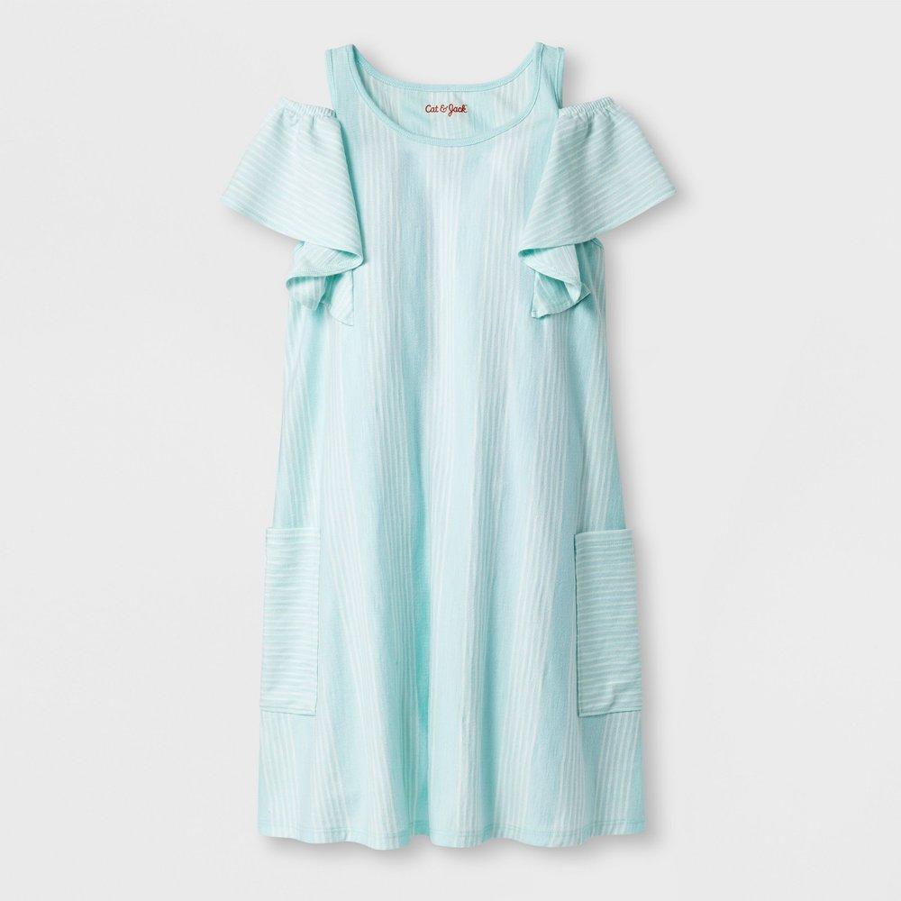 Girls' Short Sleeve Stripe Knit Dress