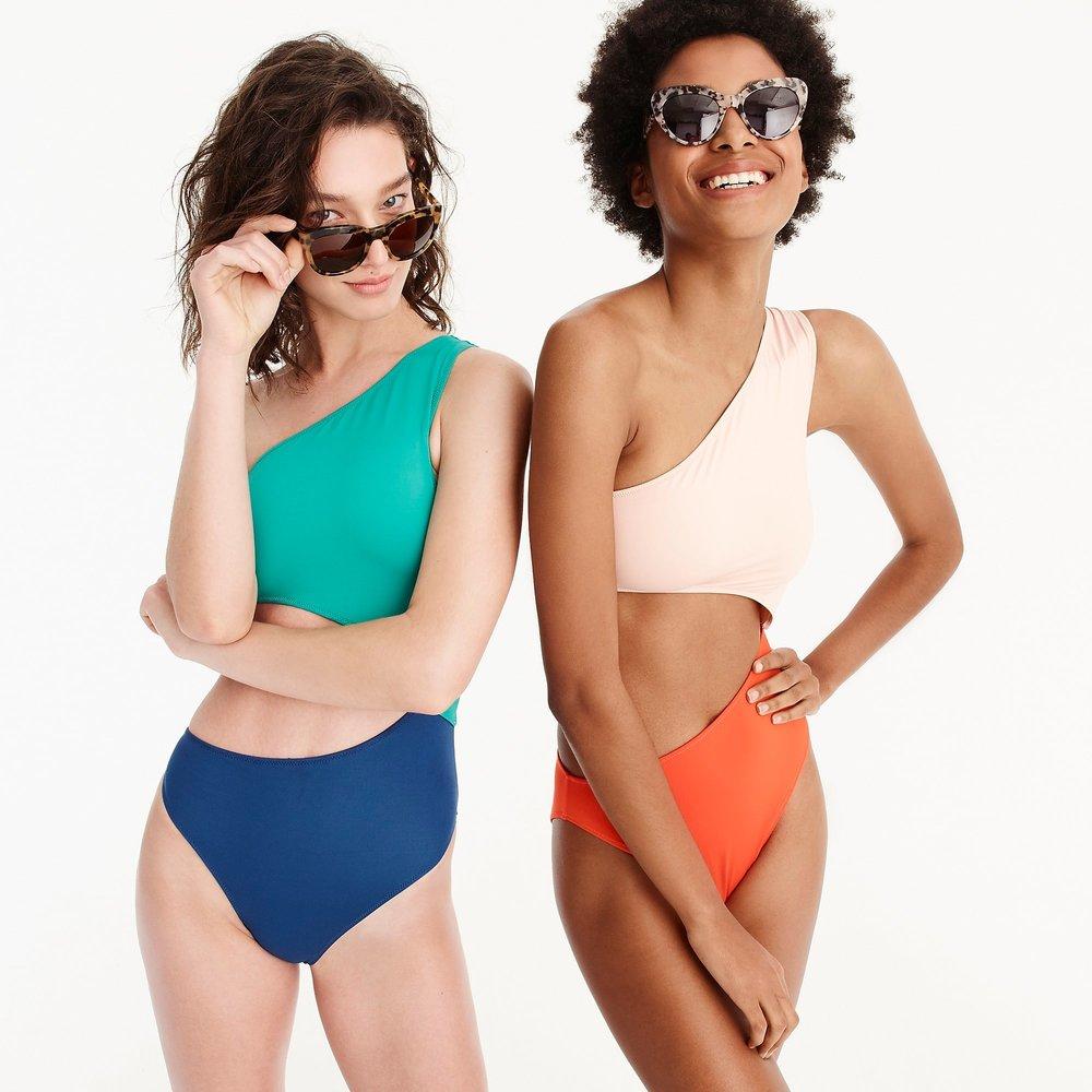 Colorblock Cut Out One Piece Swimsuit