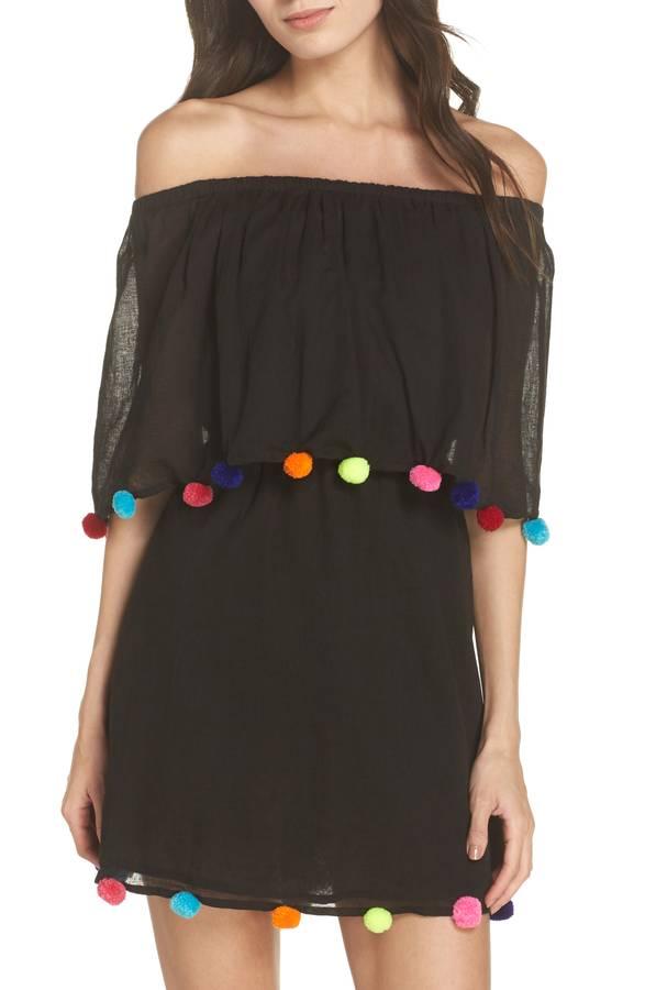 Pom Pom Off the Shoulder Dress