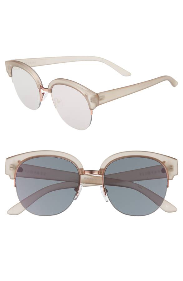 Frosted Beige Round Sunglasses