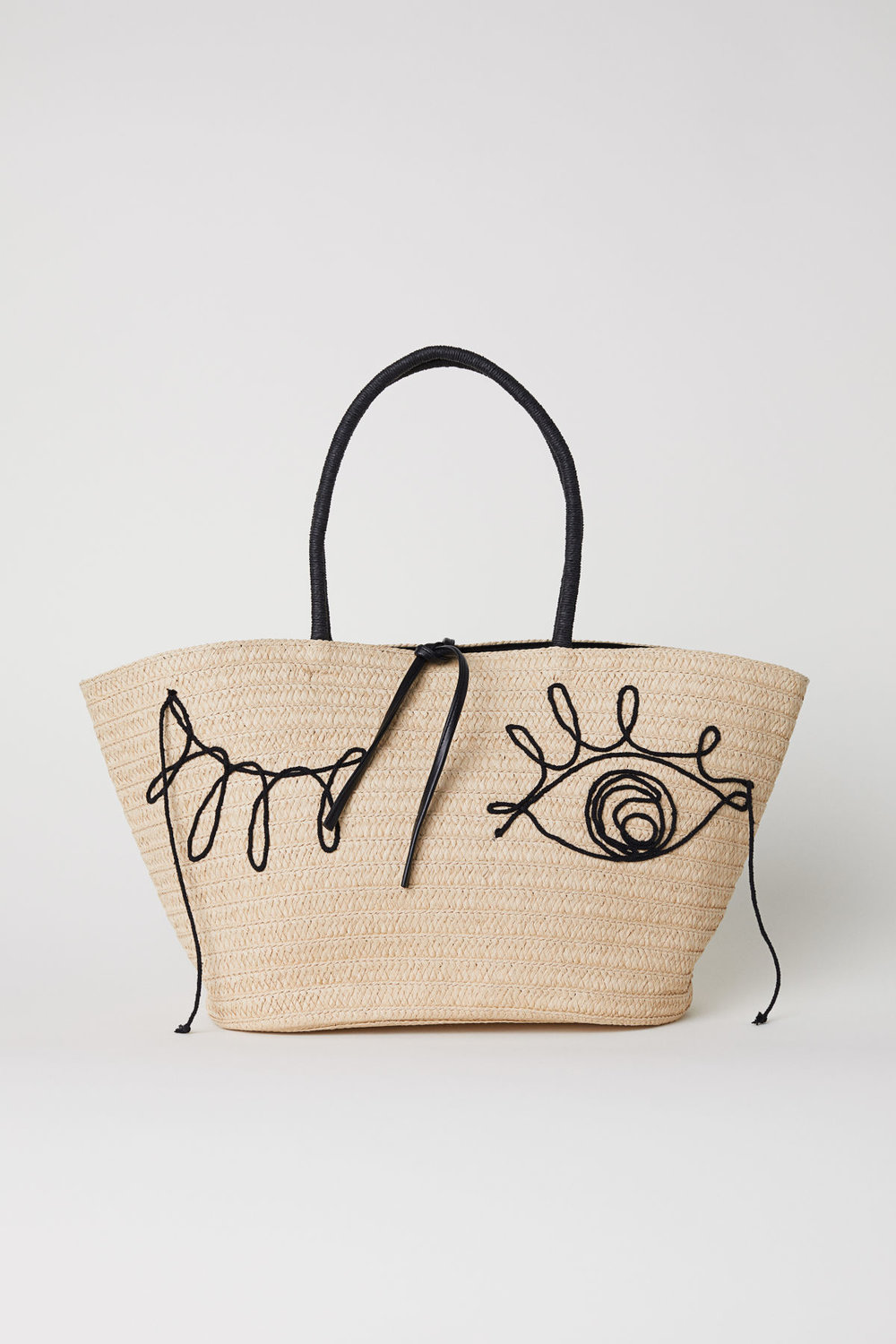 Straw Bag with Poms
