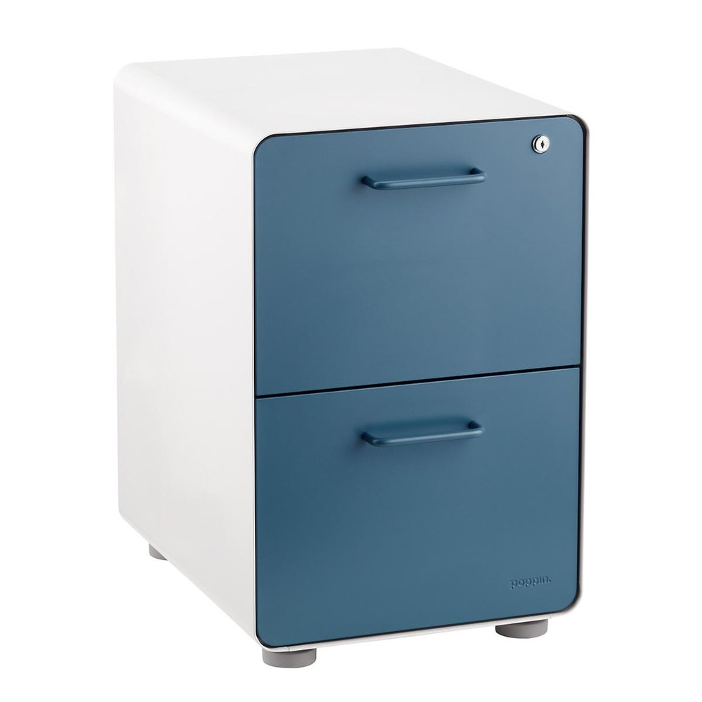 Slate Blue Locking File Cabinet