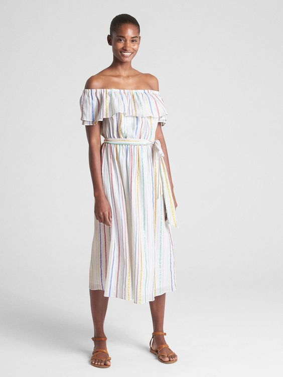 Metallic Stripe Off-the-Shoulder Dress