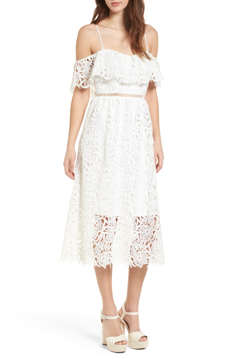 Lace Off-the-Shoulder Midi Dress