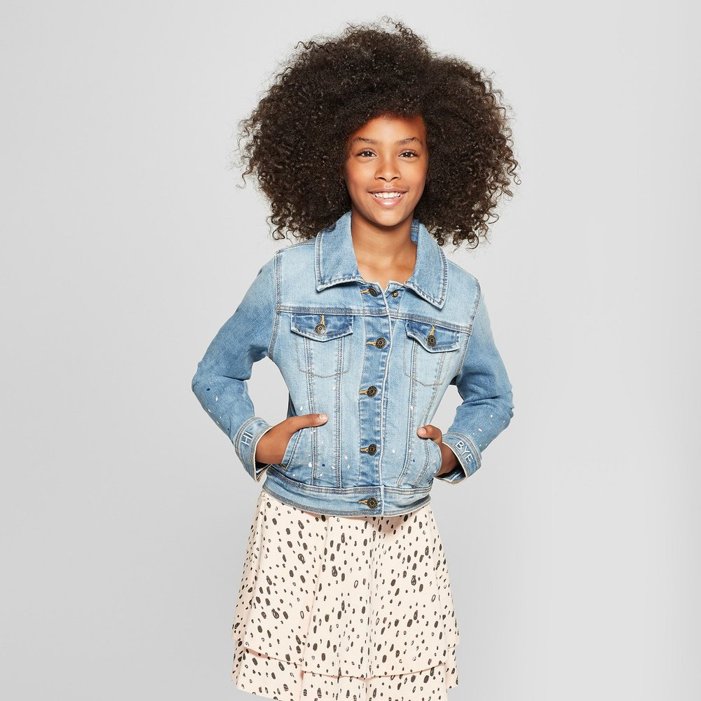 Girls' Paint Splatter Denim Jacket - $27