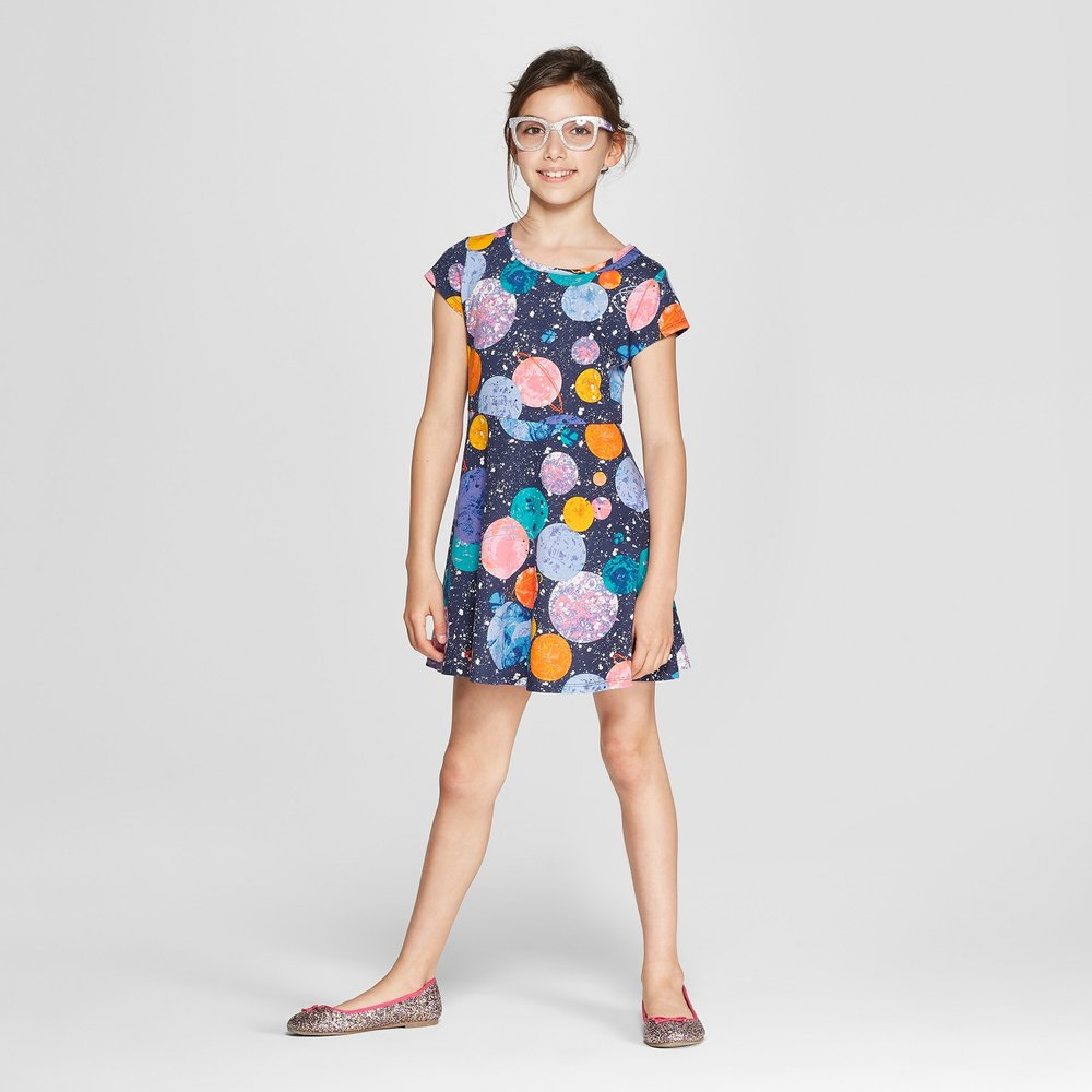 Girls' Planets Jersey Dress - $8