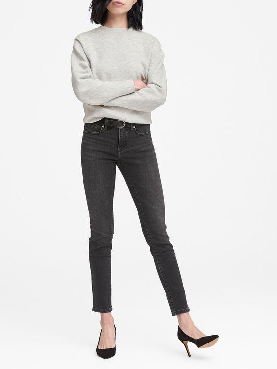 Banana Republic: Slim-Straight Black Jean - $98