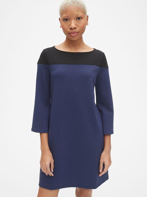 Gap: Long Sleeve Colorblock Shift Dress