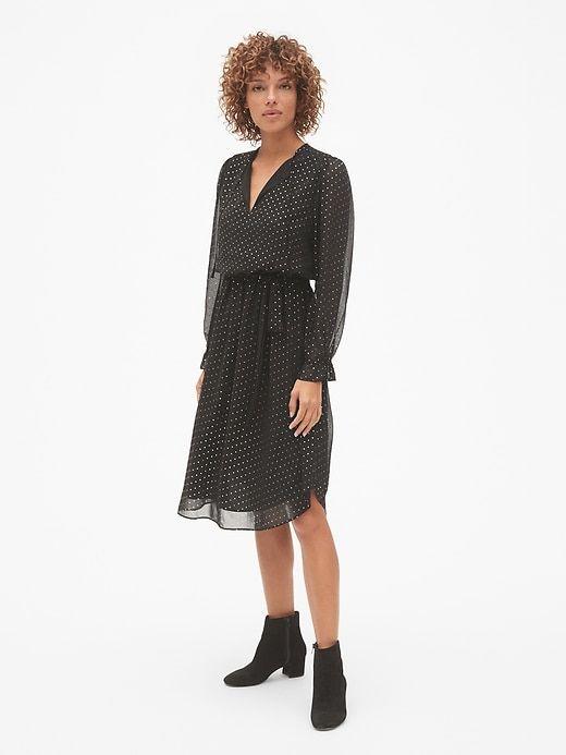 Gap: Metallic Print Midi Dress