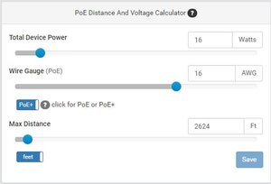 POE DISTANCE & VOLTAGE CALCULATOR