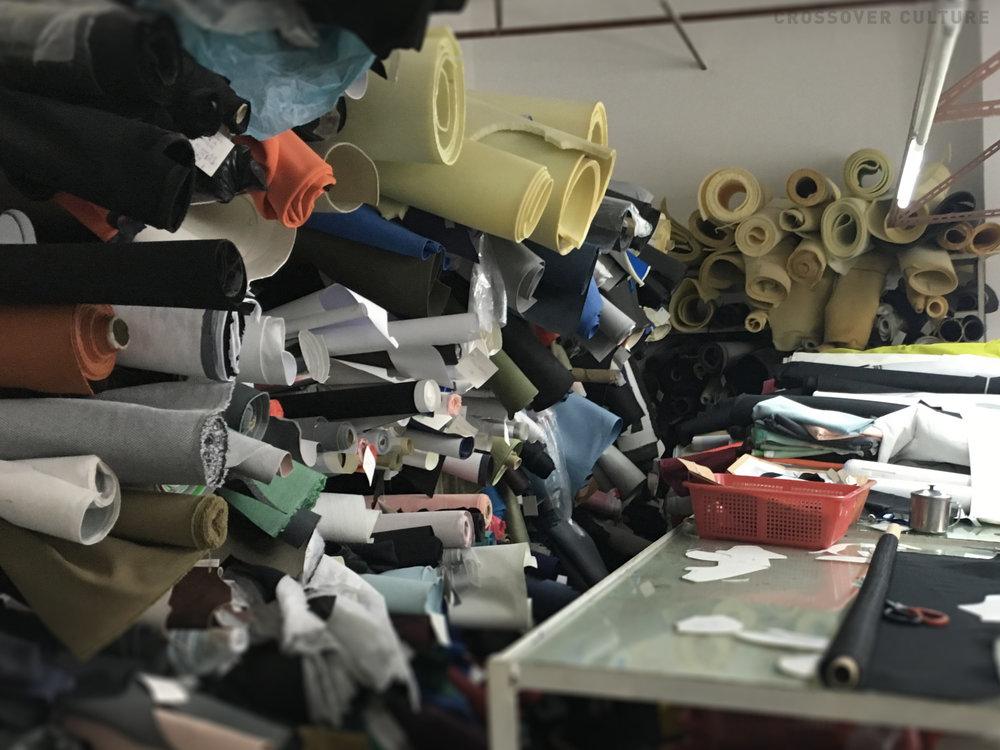 material racks in the sample room