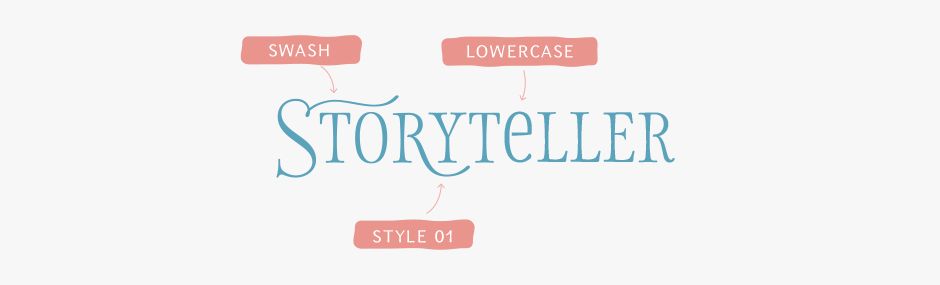 Storyteller Serif  fonts main features include stylistic alternates, catchwords (same as in Sans fonts) and swashes