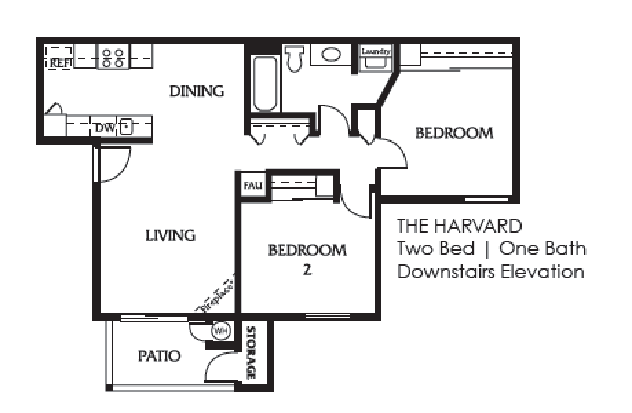 harvard one bedroom one bath downstairs elevation