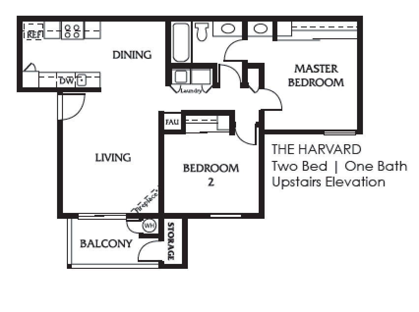 harvard two bedroom one bath upstairs elevation