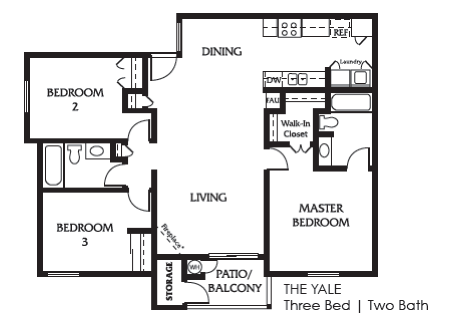 the Yale three bedroom two bath