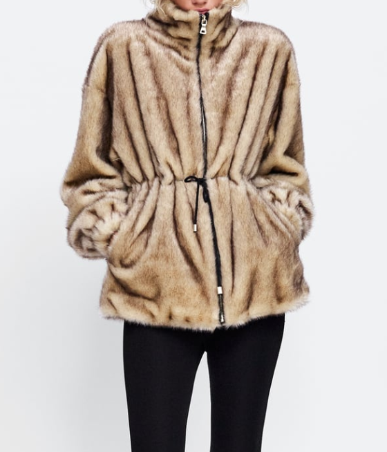 ZaraTwo-Tone Faux Fur Parka - (80€)