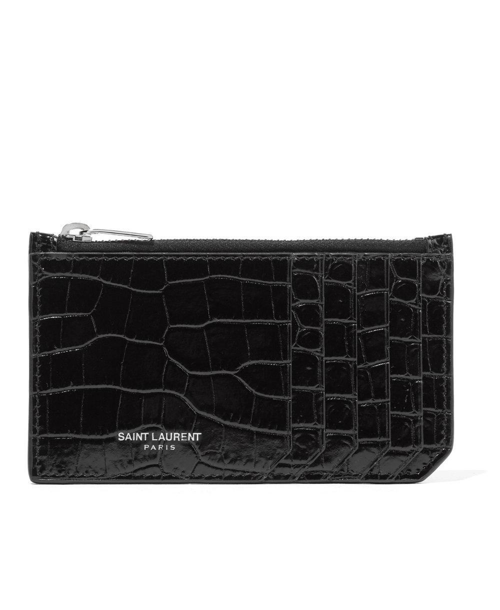 Saint Laurent Croc-Effect Leather Cardholder - 195€