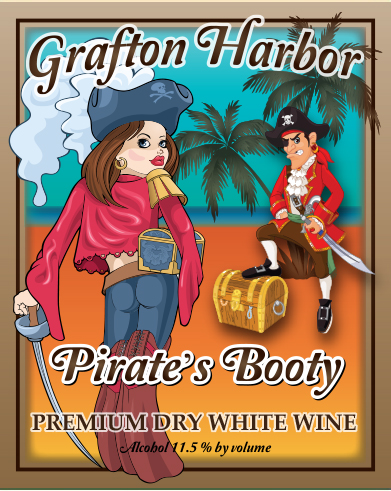 Pirate's Booty - Premium Dry White WineBlimey! This crisp, full bodied, superior, dry white wine is bursting with aromas and flavors of citrus, melons and vanilla!